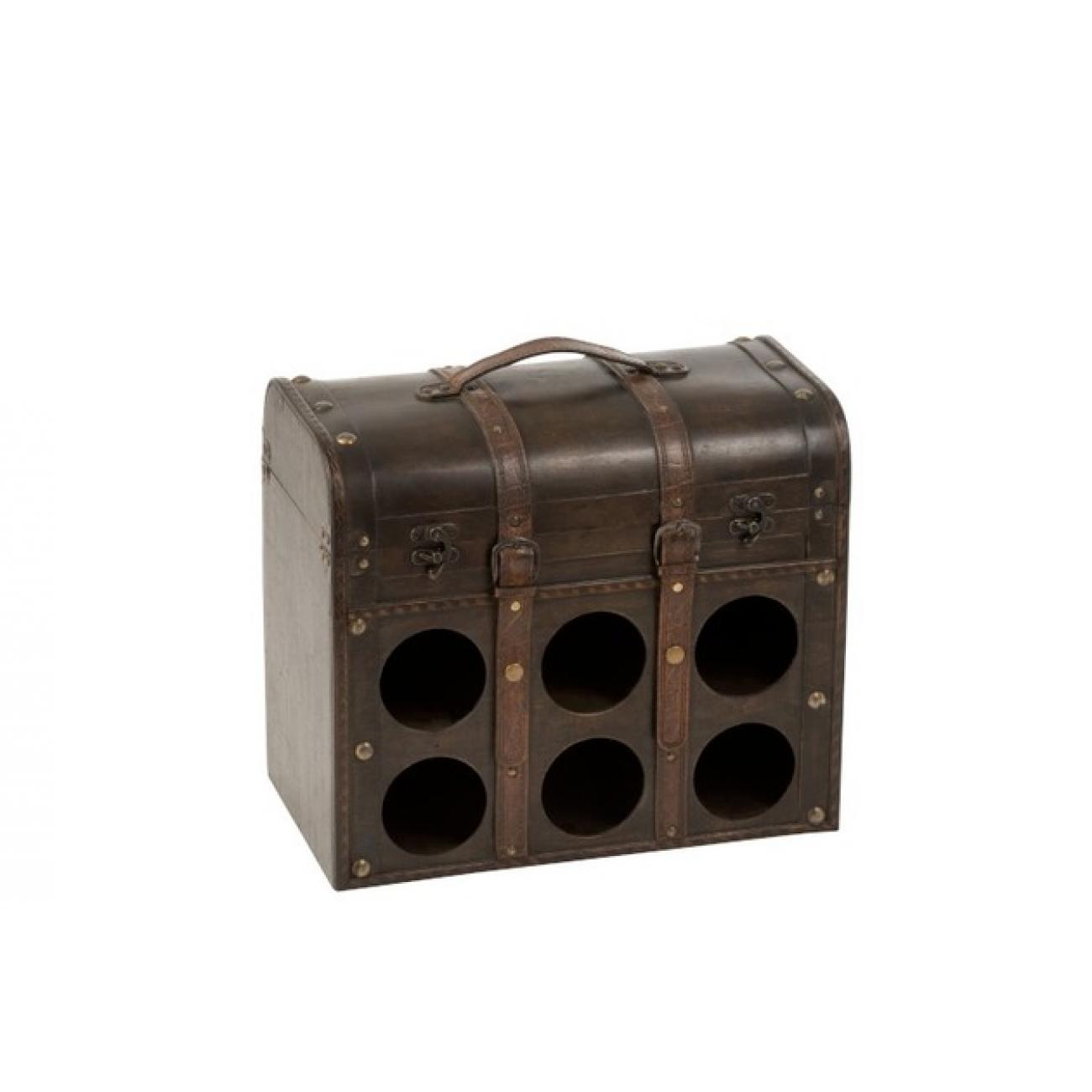 Сундук для хранения бутылок  J-LINE винный ящик на 6 бутылок коричневого цвета Бельгия