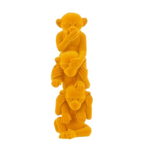 Статуэтка три обезьяны J-LINE не вижу не слышу не говорю высота 30 см желтого цвета