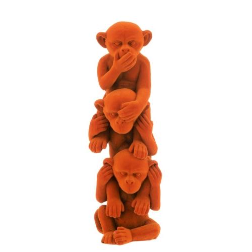 Статуэтка три обезьяны J-LINE не вижу не слышу не говорю высота 30 см оранжевого цвета