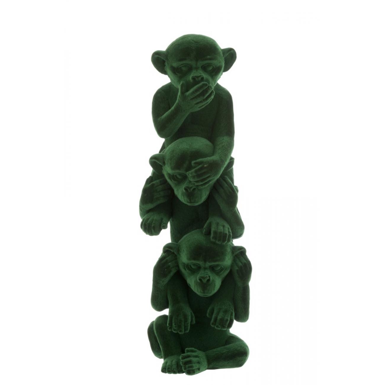 Статуэтка три обезьяны J-LINE не вижу не слышу не говорю высота 30 см зеленого цвета