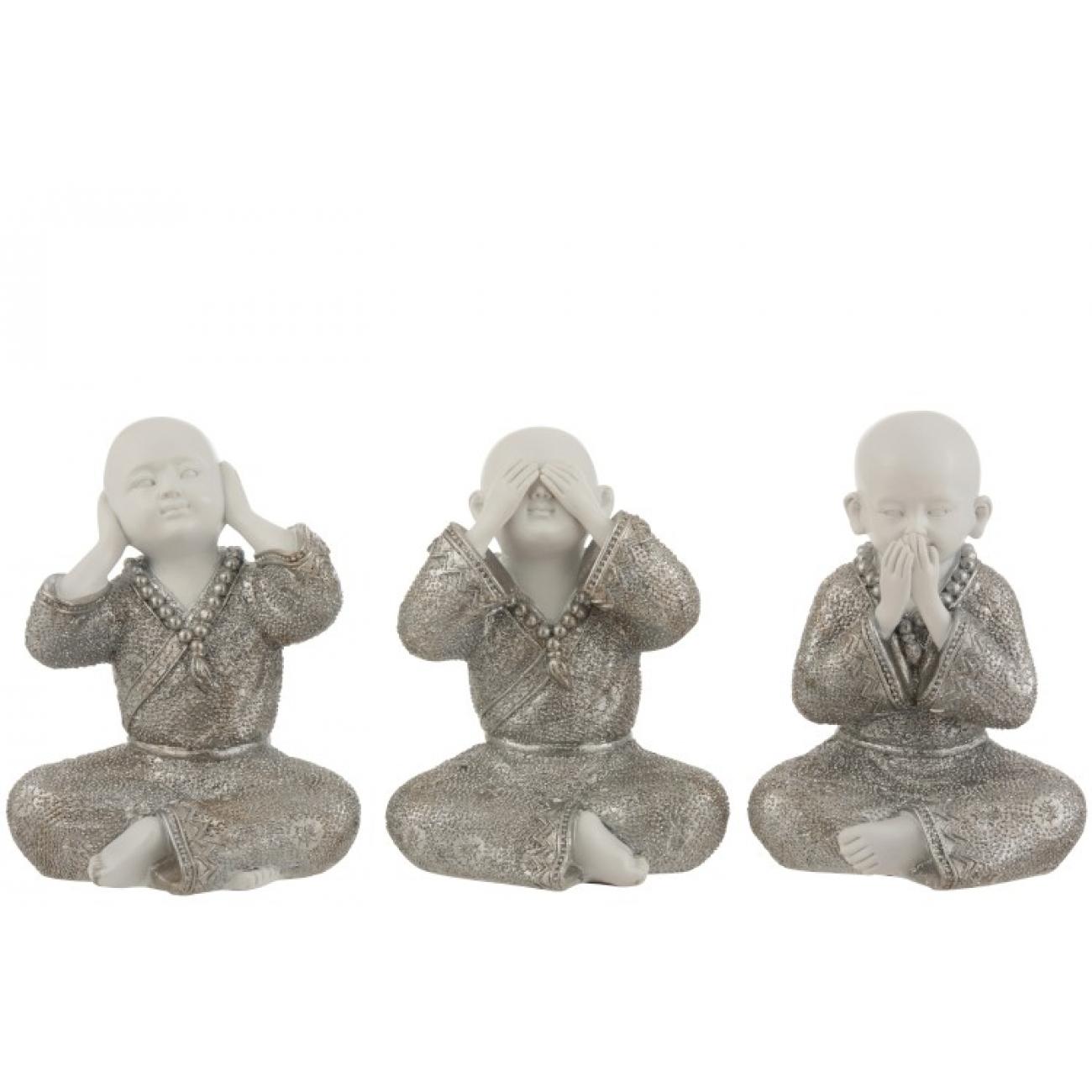 Набор статуэток J-LINE три монаха  не слышу не вижу не говорю серебристого цвета 22 см