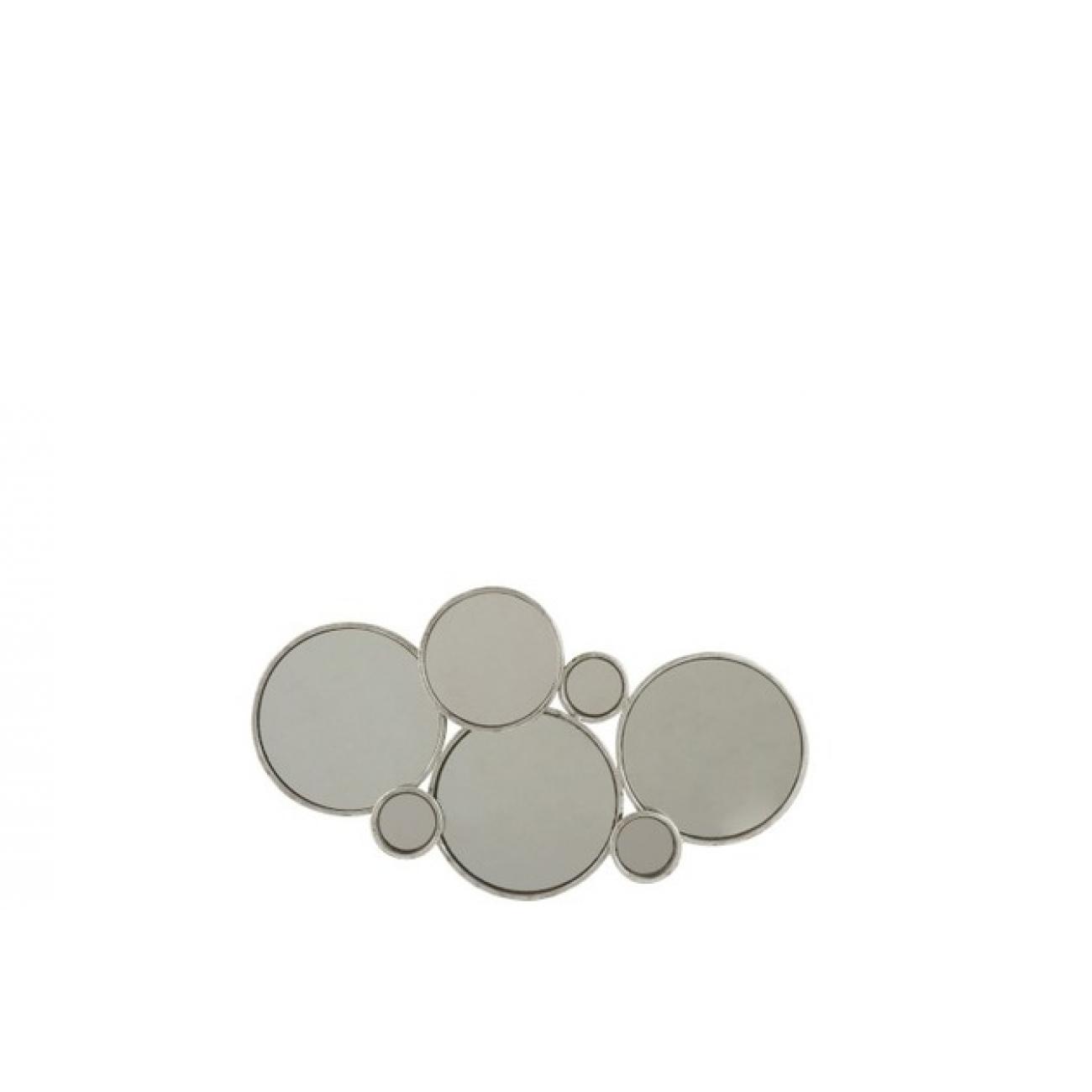Зеркало J-LINE настенное фигурное в виде шести кругов в серебристой металлической раме Бельгия