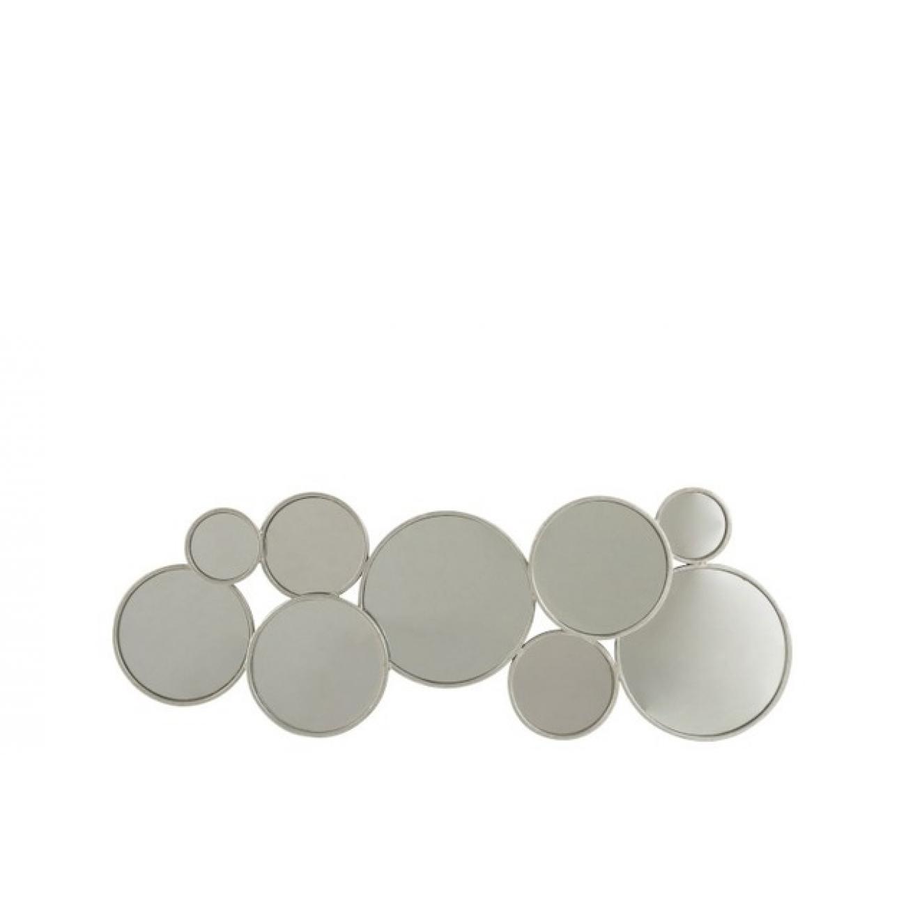 Зеркало J-LINE настенное фигурное в виде девяти кругов в серебристой металлической раме Бельгия
