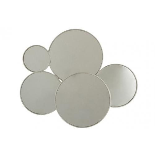 Зеркало J-LINE настенное фигурное в виде пяти кругов в серебристой металлической раме Бельгия