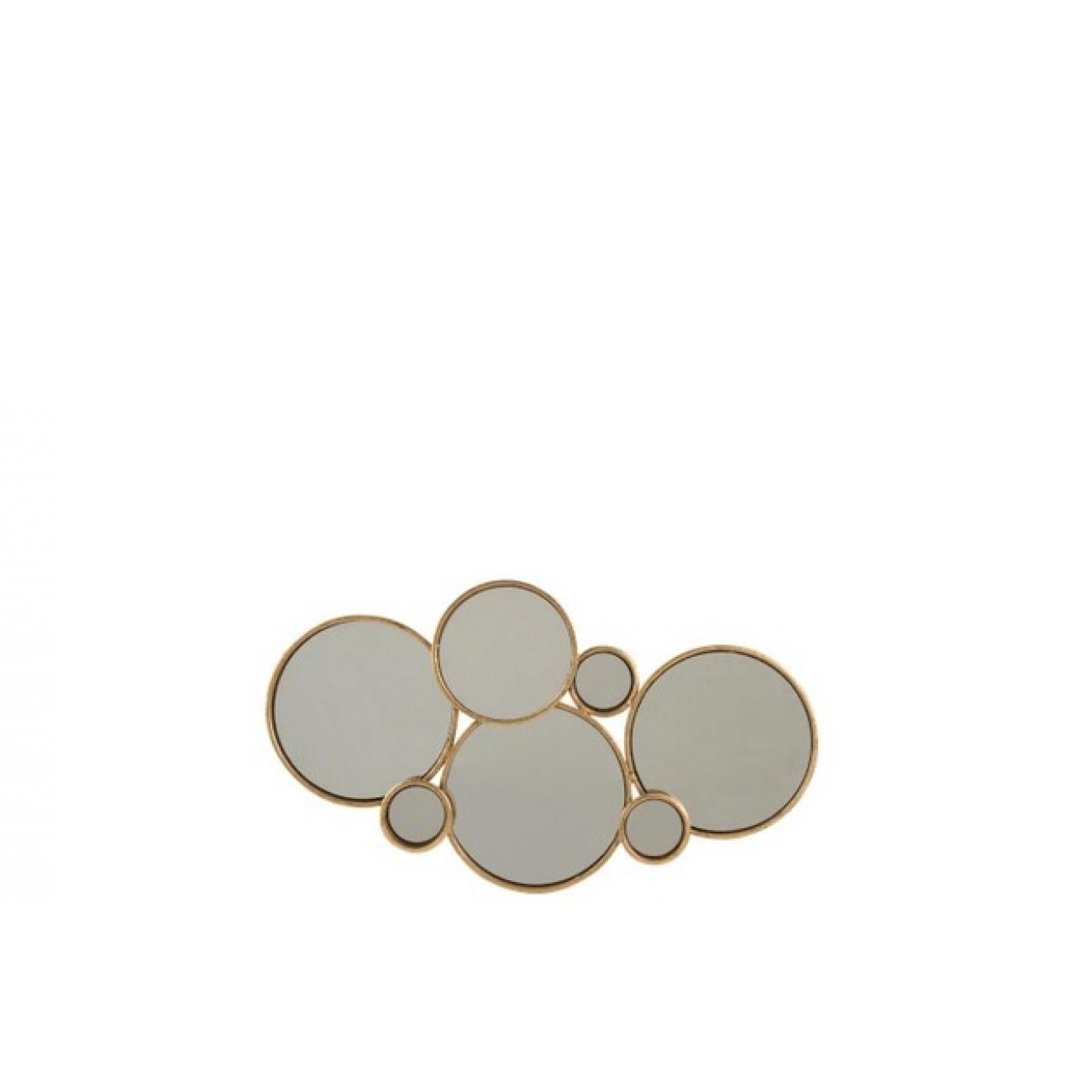 Зеркало J-LINE настенное фигурное в виде шести кругов в золотой металлической раме Бельгия