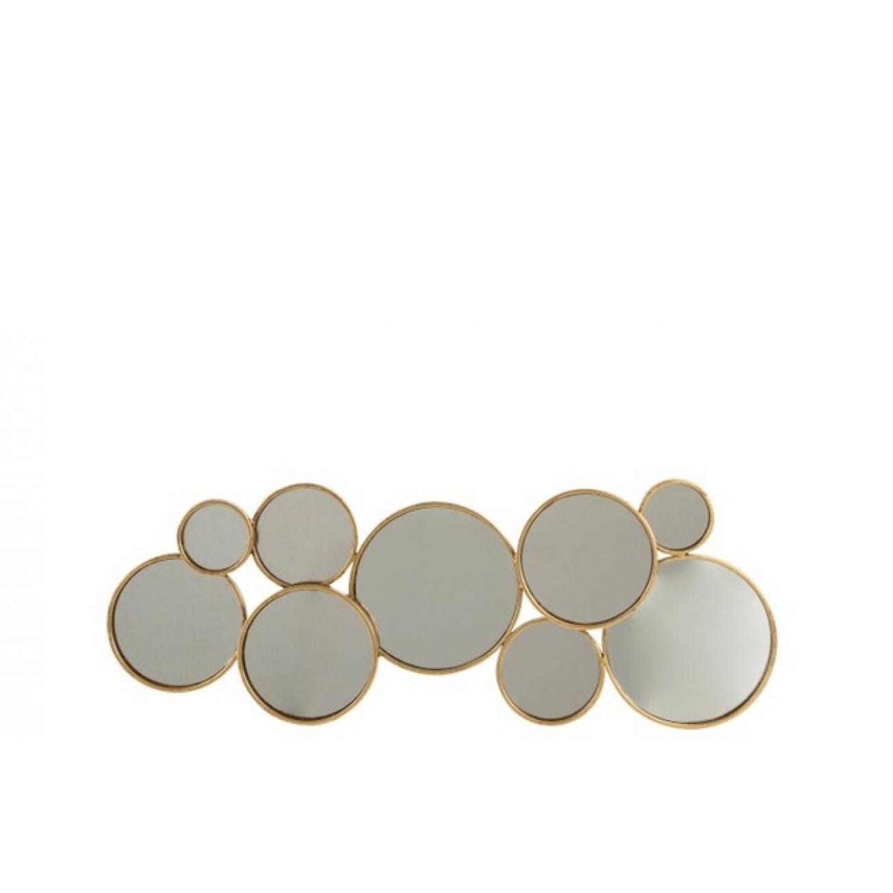 Зеркало J-LINE настенное фигурное в виде девяти кругов в золотой металлической раме Бельгия