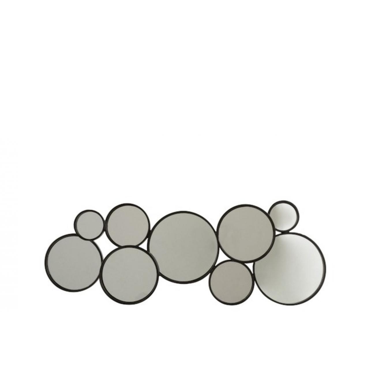 Зеркало J-LINE настенное фигурное в виде девяти кругов в черной металлической раме Бельгия