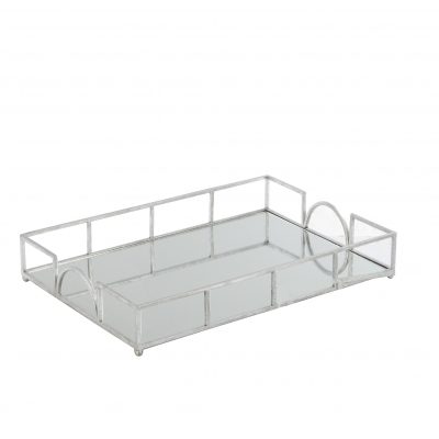 Поднос J-LINE зеркальный металлический серебристый 50х35 см Бельгия