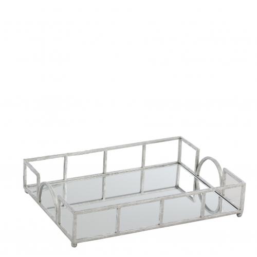 Поднос J-LINE зеркальный металлический серебристый 40х28 см Бельгия