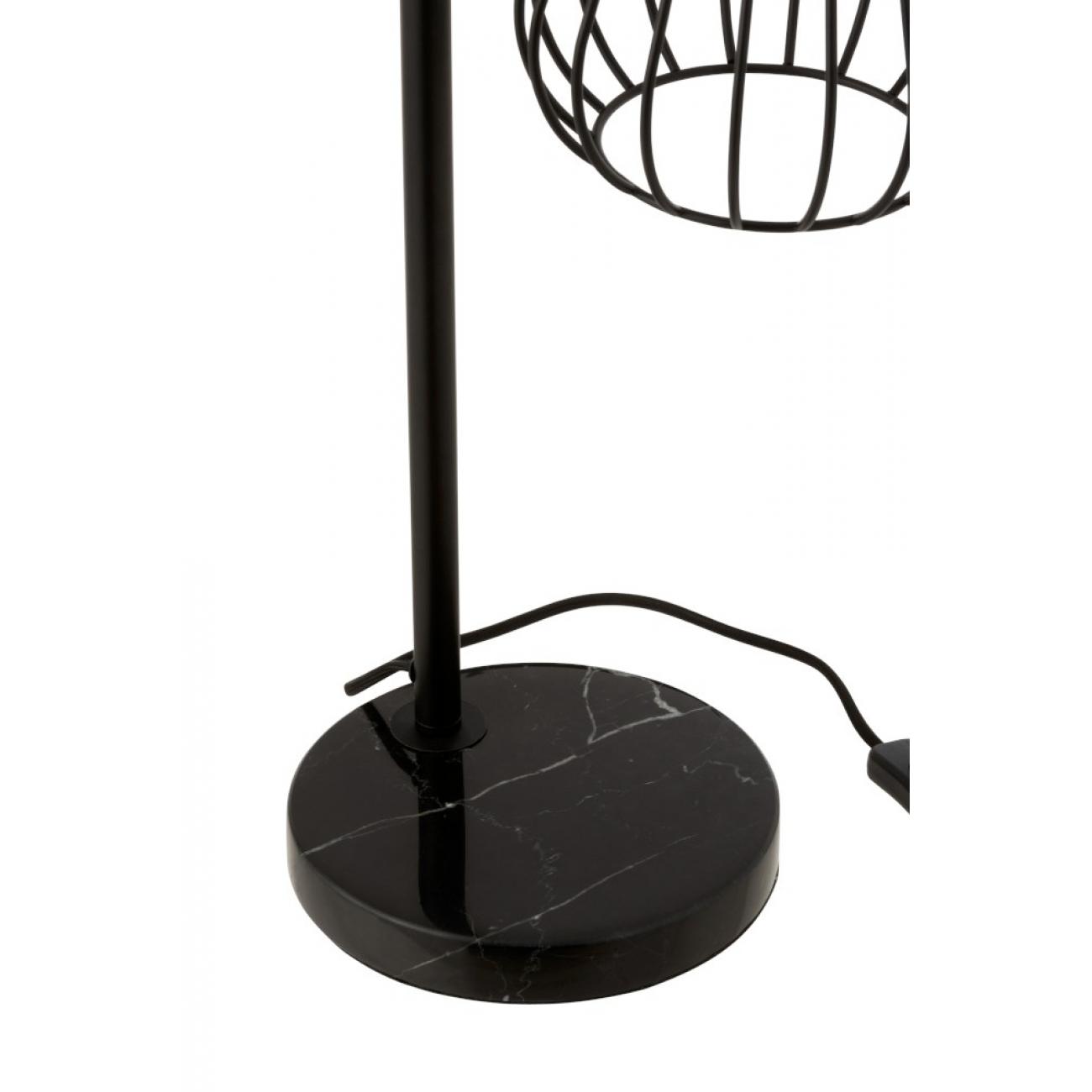 Лампа настольная  J-LINE металлическая с мраморной подставкой и кожаным декором  высота 64 см
