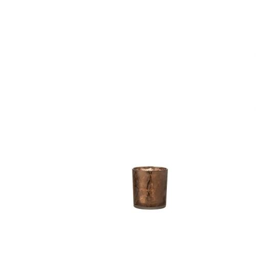 Подсвечник J-LINE стеклянный темно-коричневый с узором высота 8 см