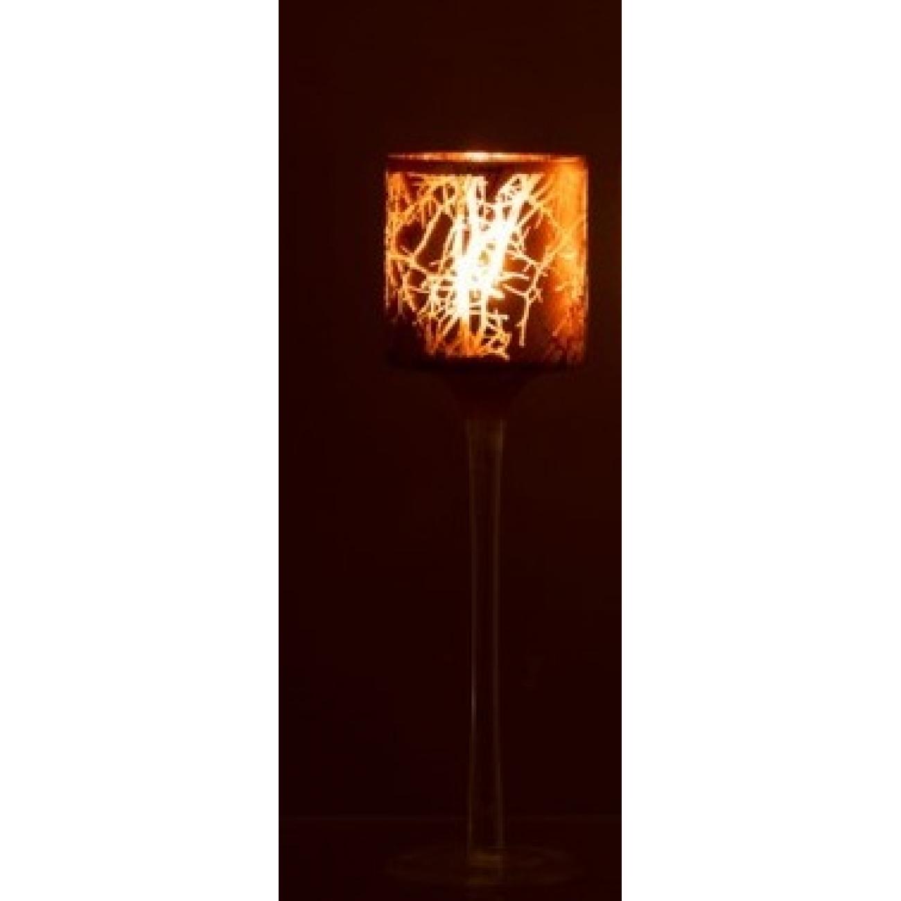 Подсвечник J-LINE стеклянный темно-коричневый с узором на тонкой ножке высота 25 см