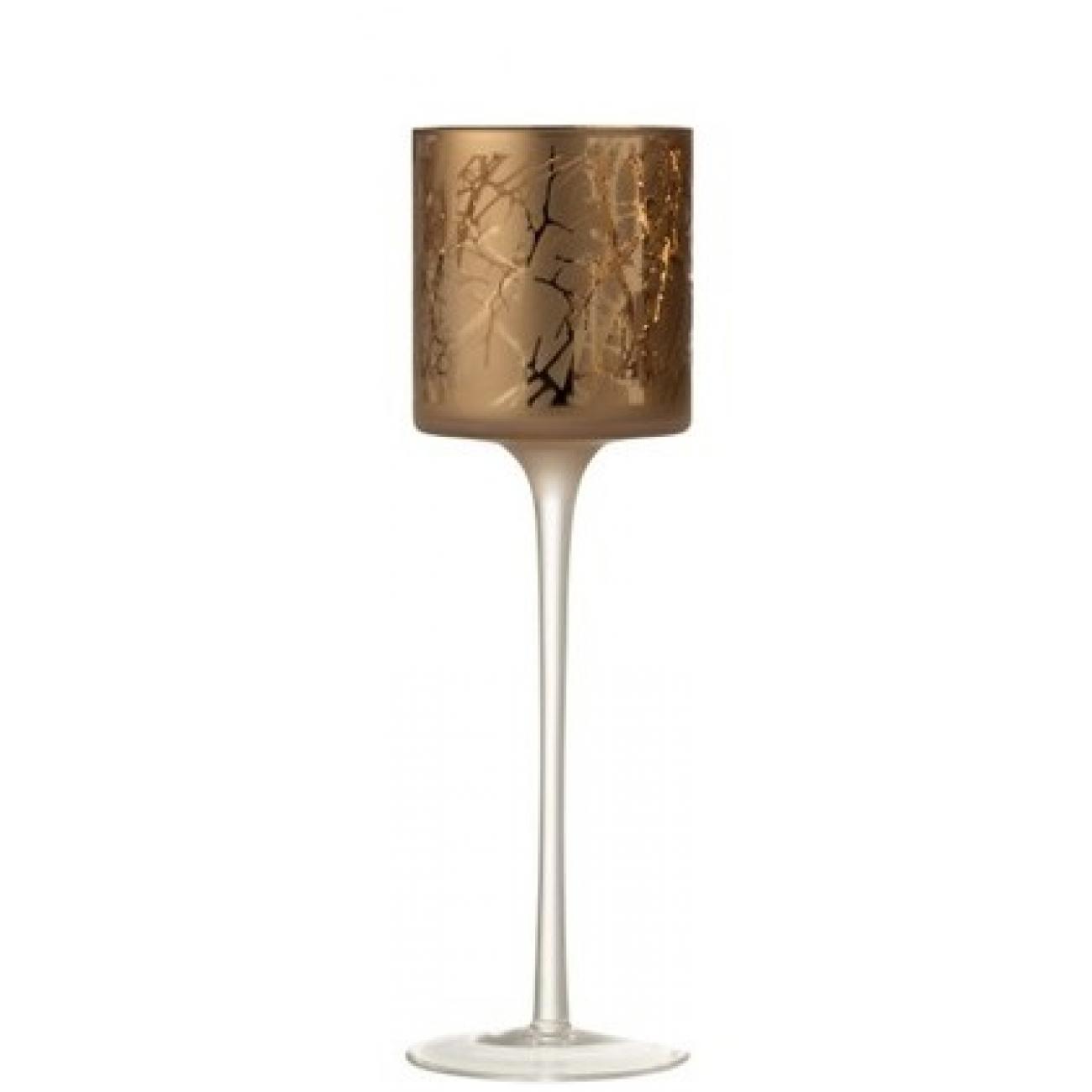 Подсвечник J-LINE стеклянный светло-коричневый с узором на тонкой ножке высота 30 см