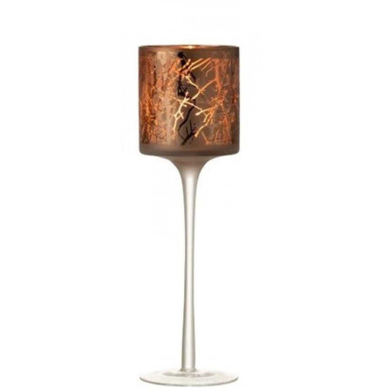 Подсвечник J-LINE стеклянный темно-коричневый с узором на тонкой ножке высота 30 см