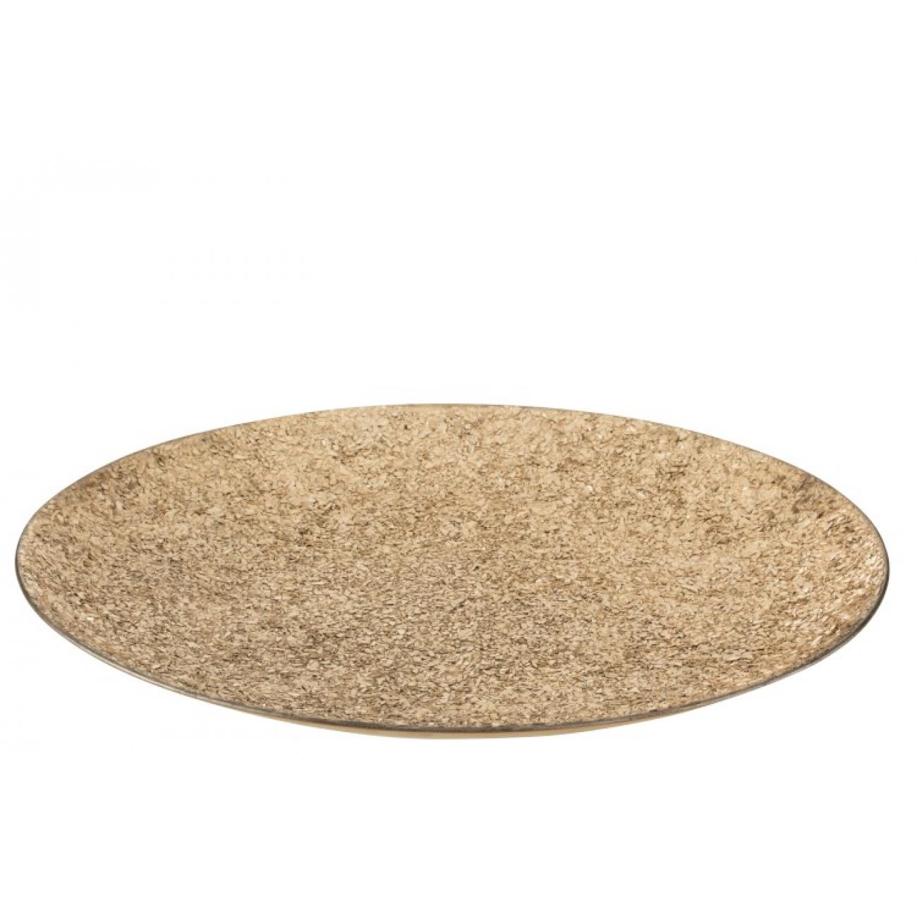 Блюдо J-LINE круглое металлическое со стеклянной крошкой золотистое диаметр 46 см