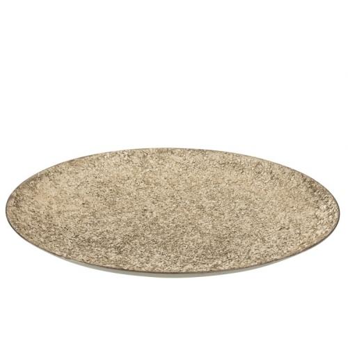 Блюдо J-LINE круглое металлическое со стеклянной крошкой серебристое диаметр 46 см