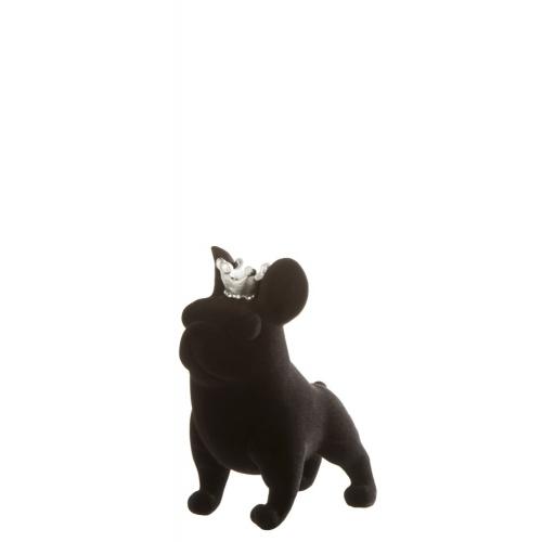 Статуэтка бульдог с короной J-LINE черная высота 15 см Бельгия