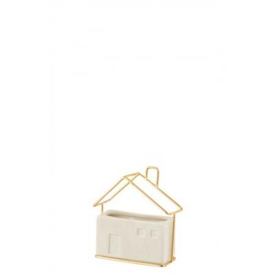 Кашпо J-LINE в форме домика белого цвета керамика 13х6х14 см
