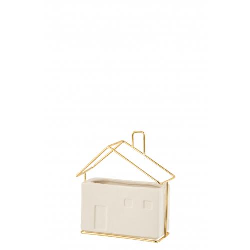 Кашпо J-LINE в форме домика белого цвета керамика 16х7х16 см