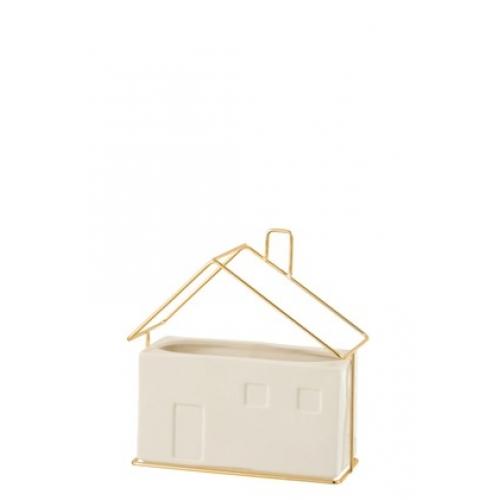 Кашпо J-LINE в форме домика белого цвета керамика 20х10х19 см
