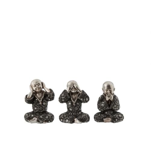 Набор статуэток J-LINE три монаха  не слышу не вижу не говорю серебристого цвета 15 см