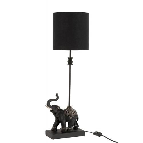 Лампа настольная напольная  J-LINE со статуэткой слона с абажуром черная высота 69 см