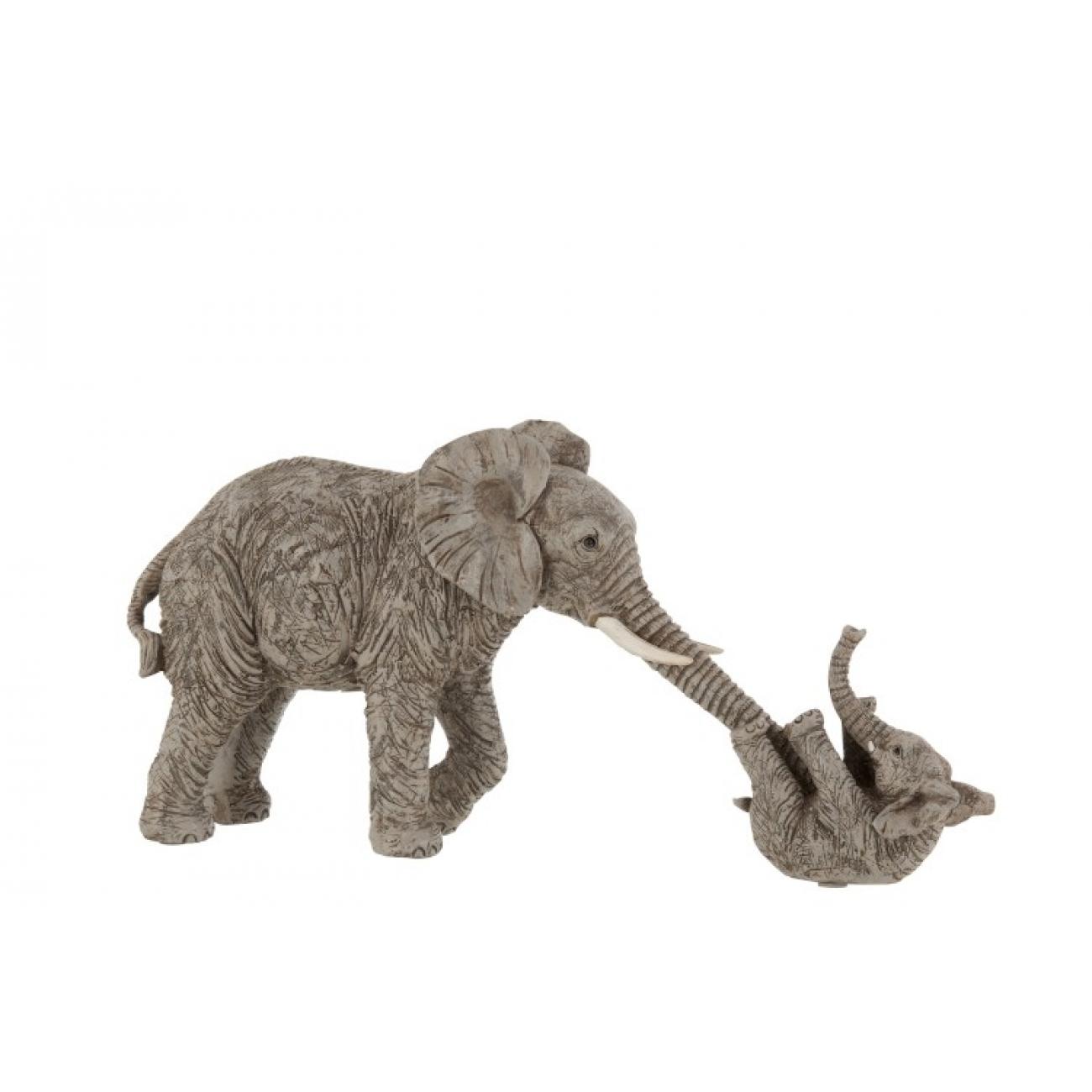 Статуэтка  J-LINE слоны родитель и ребенок длина 38 см