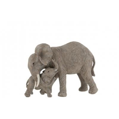 Статуэтка  J-LINE слоны родитель и ребенок длина 28 см