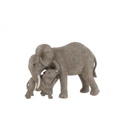 Статуэтка  J-LINE слоны слон и слоненок длина 28 см