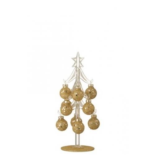 Елочка стеклянная  J-LINE декоративная настольная  с шариками золотистая высота 20 см