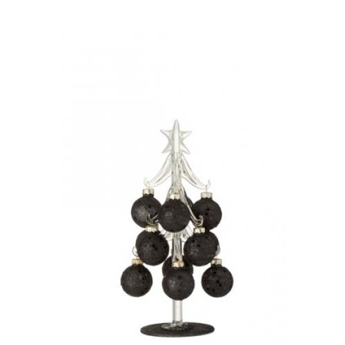 Елочка стеклянная  J-LINE декоративная настольная  с шариками черного цвета высота 20 см