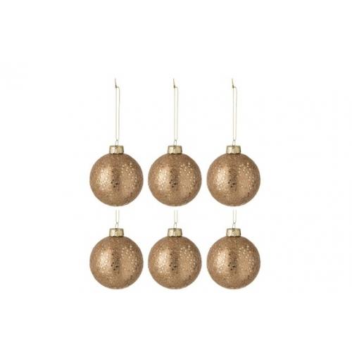 Набор елочных стеклянных шаров J-LINE коричневого цвета диаметр 8 см