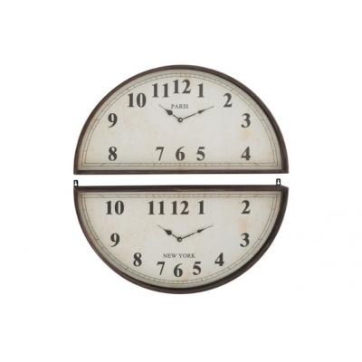 Настенные часы J-LINE круглые в черном металлическом корпусе из двух половинок для разных часовых поясов диаметр 74 см