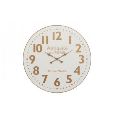 Настенные часы J-LINE круглые белые в корпусе из натурального дерева диаметр 92 см