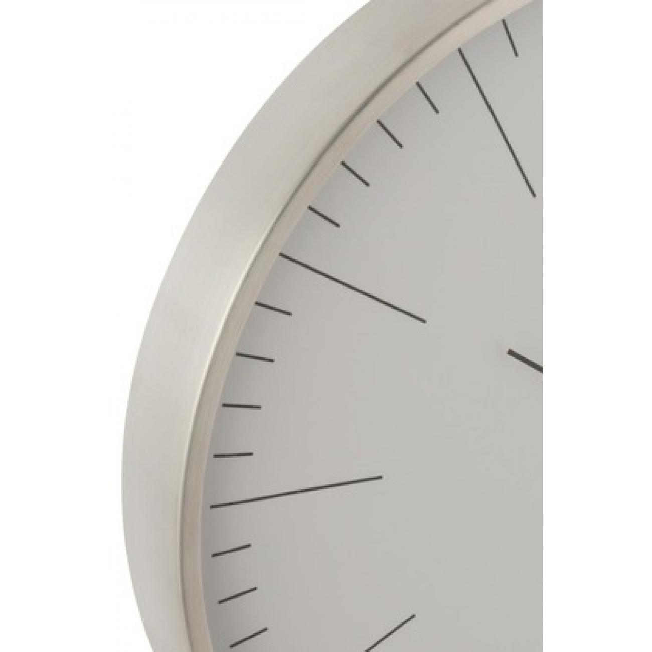 Настенные часы J-LINE круглые в алюминиевом корпусе серебристые диаметр 40 см