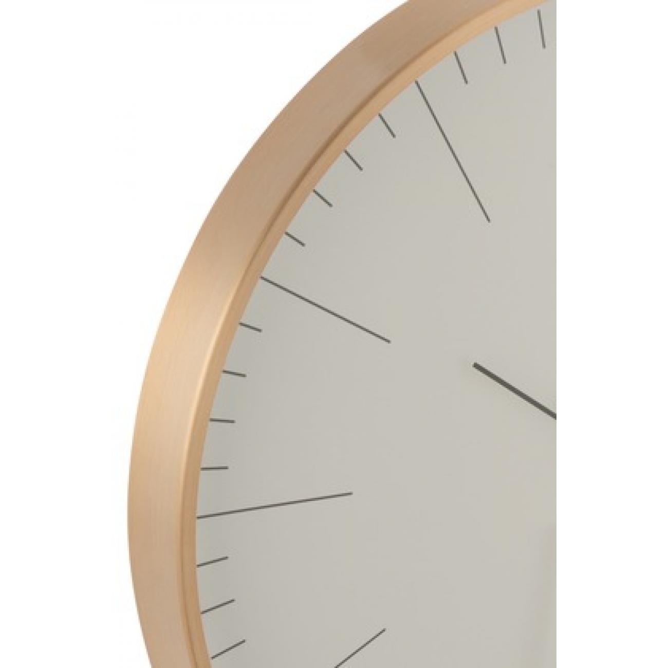 Настенные часы J-LINE круглые в алюминиевом корпусе золотистые диаметр 40 см