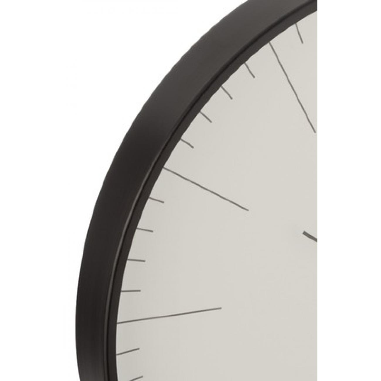 Настенные часы J-LINE круглые в алюминиевом корпусе черные диаметр 40 см
