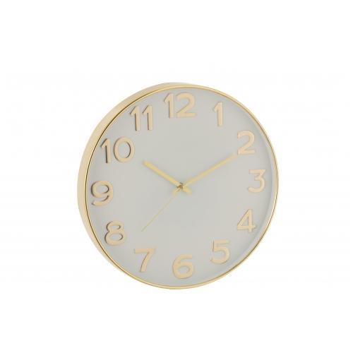 Настенные часы J-LINE круглые в пластиковом корпусе золотистые арабские цифры диаметр 40 см