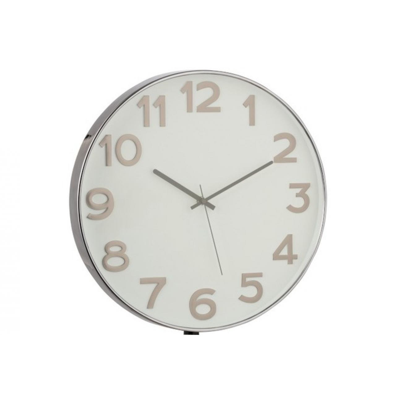 Настенные часы J-LINE круглые в пластиковом корпусе серые арабские цифры диаметр 40 см