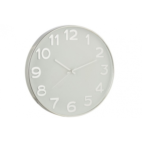 Настенные часы J-LINE круглые в пластиковом корпусе серебристые арабские цифры диаметр 40 см