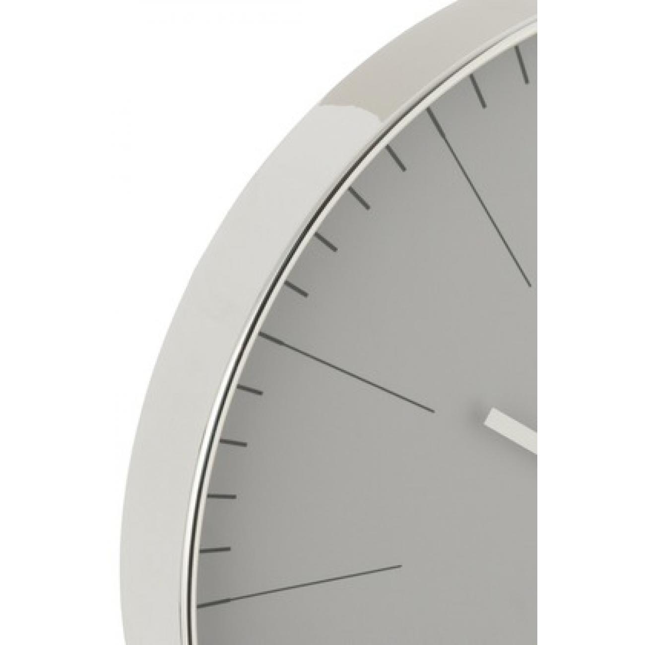 Настенные часы J-LINE круглые в пластиковом корпусе серебристые диаметр 40 см