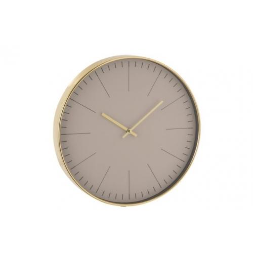 Настенные часы J-LINE круглые в пластиковом корпусе золотистые диаметр 40 см