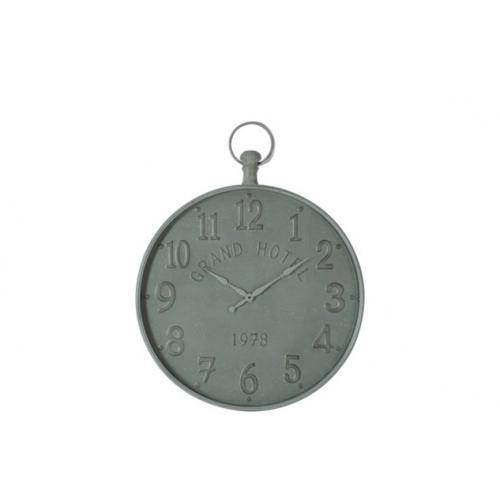 Настенные часы J-LINE круглые в сером металлическом корпусе с арабскими цифрами Grand Hotel диаметр 72 см