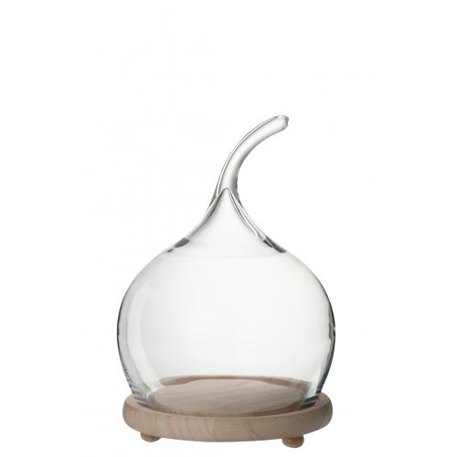 Блюдо J-LINE со стеклянным куполом  и деревянным основанием высота 39 см Бельгия