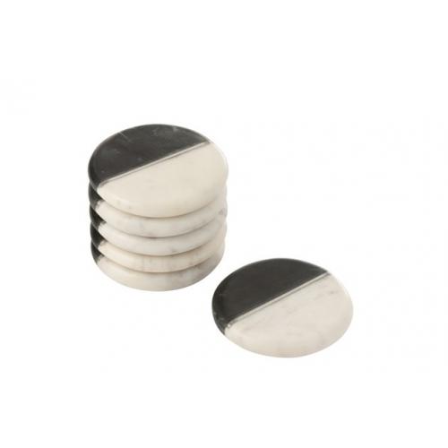Подставки под чашки J-LINE каменные набор из 6-ти штук Бельгия