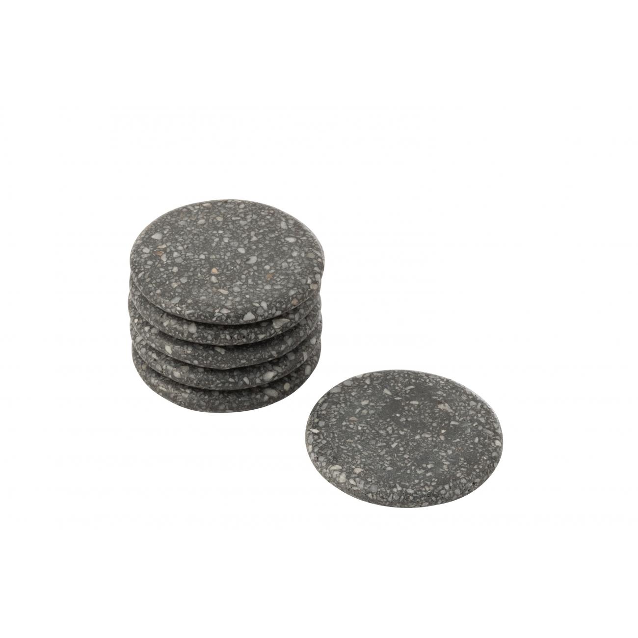 Подставки под чашки J-LINE камень серого цвета  набор из 6-ти штук Бельгия