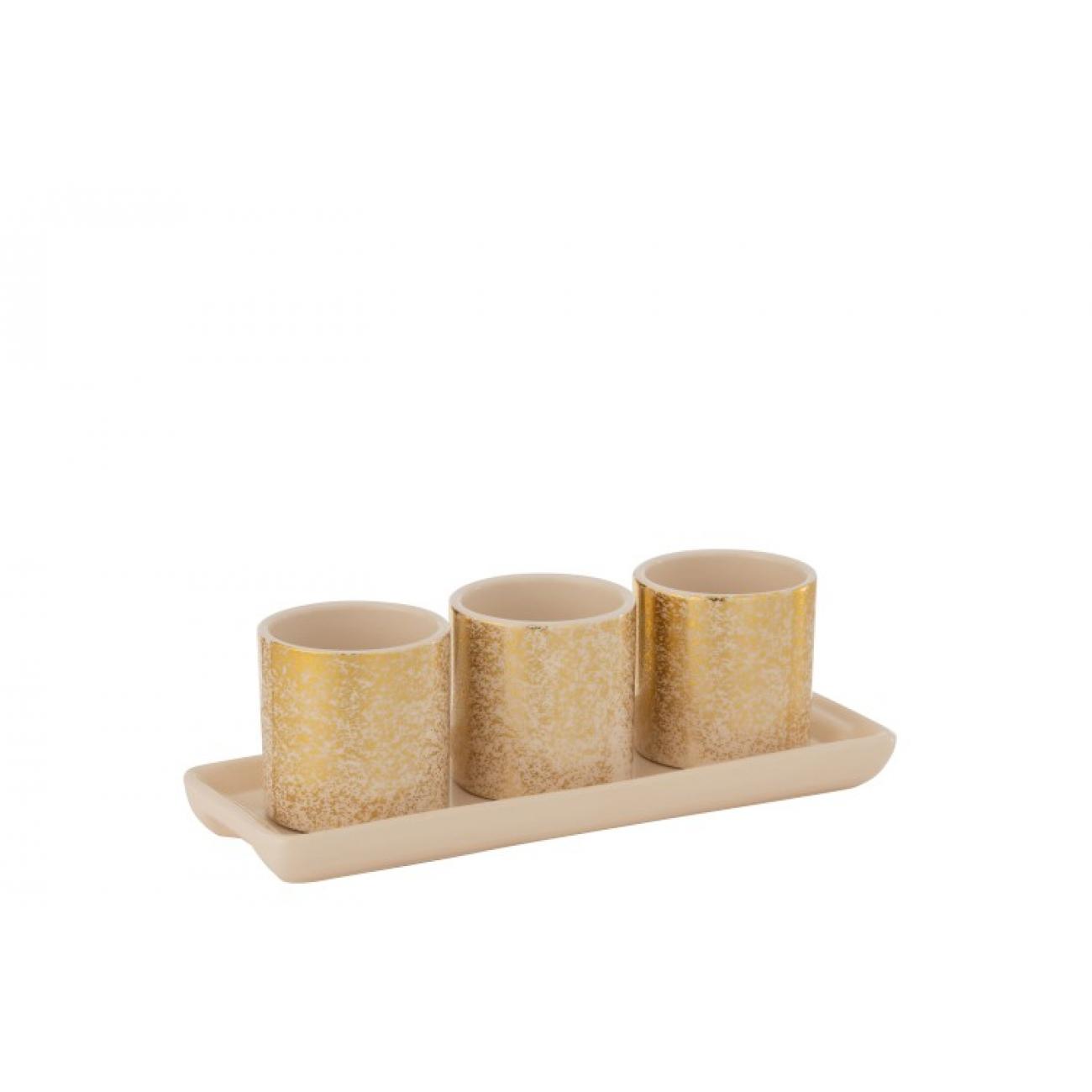 Кашпо J-LINE золотого цвета комплект из трех штук на подставке 27х10х9 см