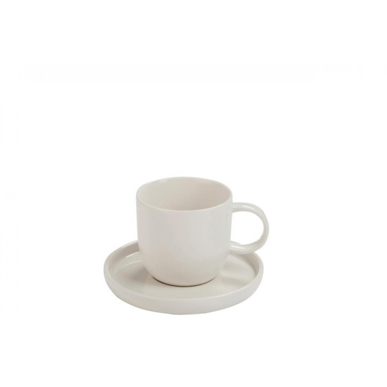Фарфоровая чашка с блюдцем J-LINE белого цвета 250 мл