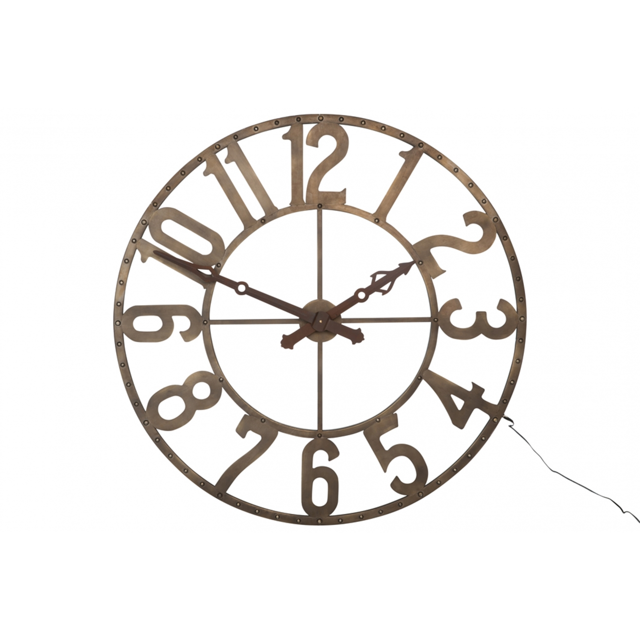 Настенные часы J-LINE круглые с лед-подсветкой в металлическом корпусе коричневого цвета с арабскими цифрами диаметр 106 см