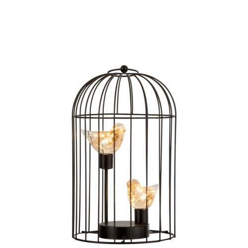 Ночник  J-LINE в виде двух птичек золотого цвета в клетке  высота 36 см